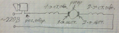 Электросхема дрели с регулятором оборотов и реверсом