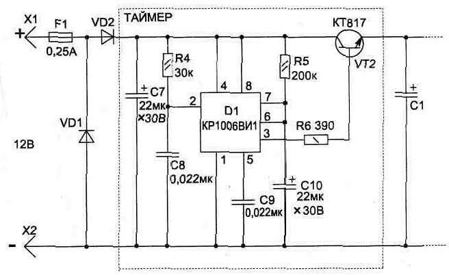 Электрическая схема таймера.
