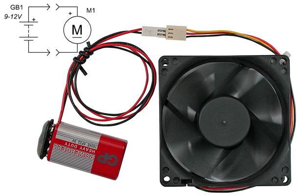 Схема подключения вентилятора.